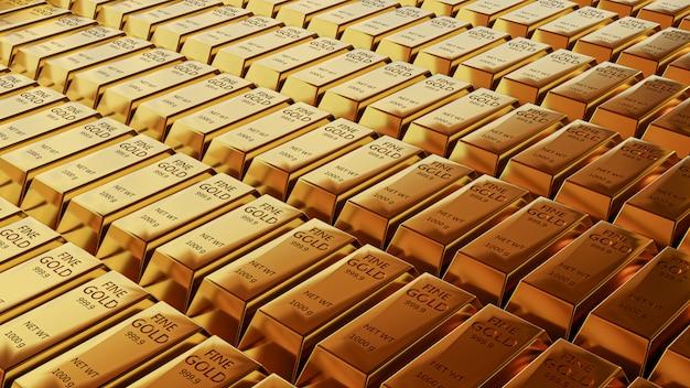 Vista di animazione 3d del primo piano di sottili lingotti d'oro.