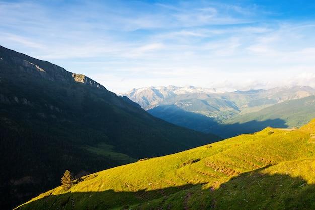 Vista di estate del prato dell'altopiano a pirenei