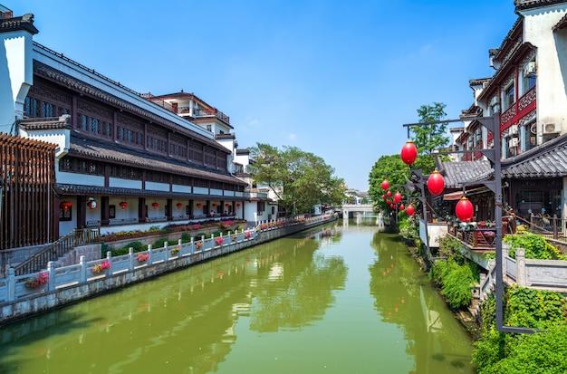 Vista di notte del tempio di nanchino confucio