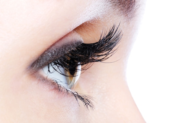 Vista di profilo di un occhio umano con ciglia finte ricciolo lungo
