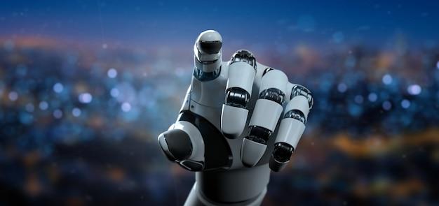 Vista di un cyborg della mano del robot - rappresentazione 3d