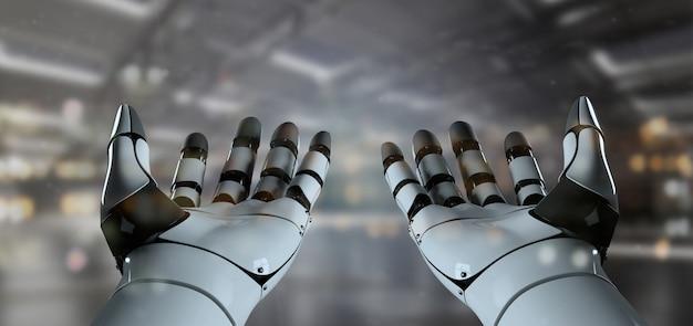 Vista di un robot cyborg a mano