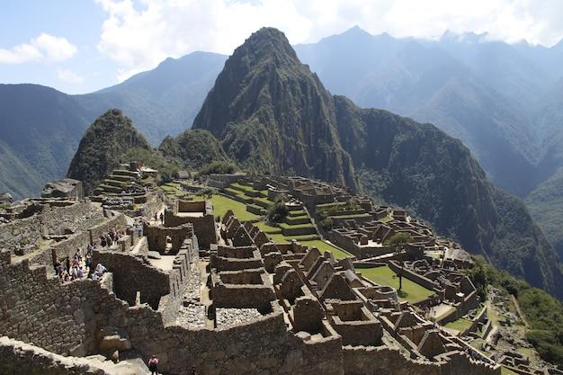 Vista di una delle meraviglie del mondo, machu picchu, perù