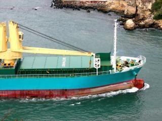 Vista di una nave da carico