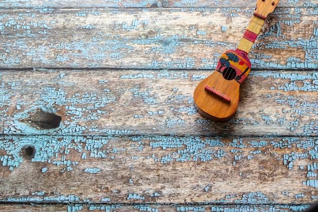 Vista di uno strumento musicale cuatro venezuelano, latinoamericano