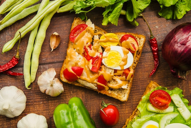 Vista elevata del delizioso panino con diverse verdure sane