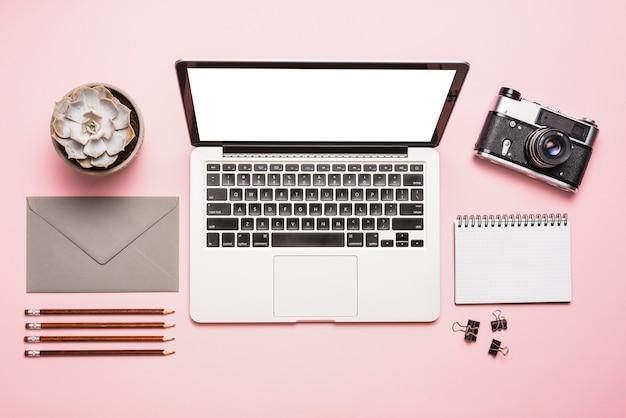 Vista elevata del laptop; telecamera; cartolerie e pianta succulente su sfondo rosa