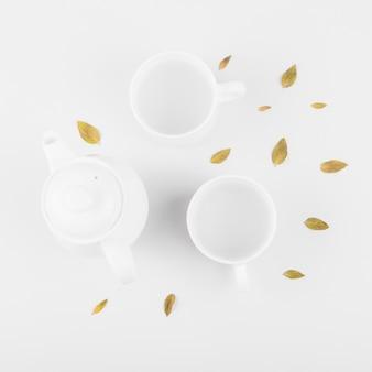 Vista elevata delle foglie; tazza di tè e teiera su sfondo bianco
