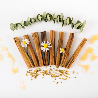 Vista elevata di spezie; fiori; miele e polline d'api sulla superficie bianca