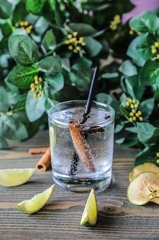 Vista frontale acqua in un bicchiere con cannella e lime