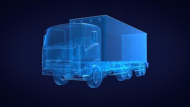 Vista frontale del camion x ray blu trasparente. rendering 3d
