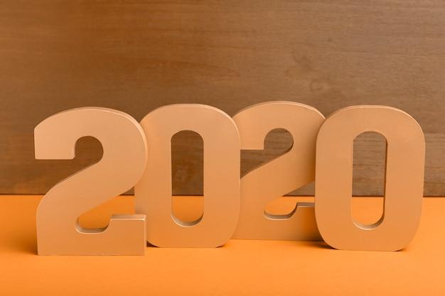 Vista frontale del numero d'oro del nuovo anno cinese