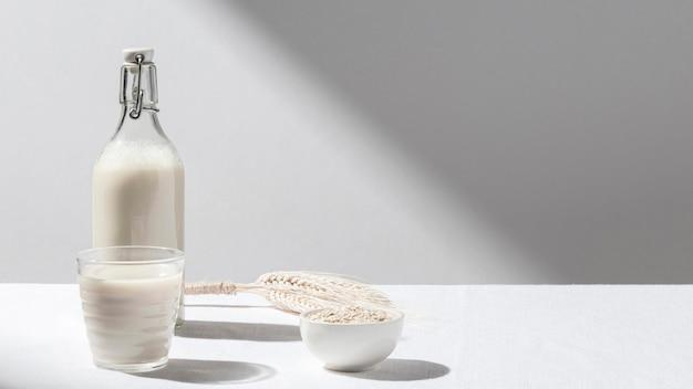 Vista frontale della bottiglia per il latte con bicchiere pieno e ciotola di farina d'avena con spazio di copia