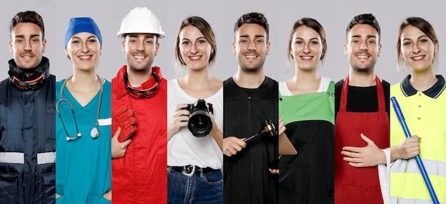 Vista frontale della collezione di uomini e donne con diversi lavori
