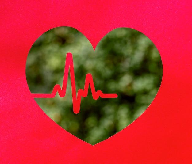 Vista frontale della forma del cuore con il battito cardiaco e l'erba sfocata