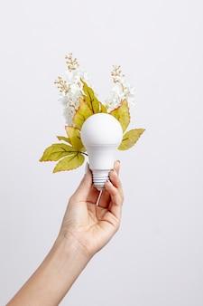 Vista frontale della lampadina tenuta in mano con i fiori e le foglie