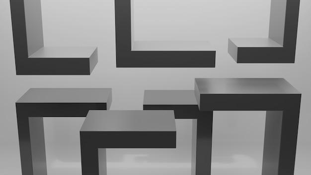 Vista frontale della mensola vuota sul tavolo nero e lo sfondo del muro per la visualizzazione del prodotto