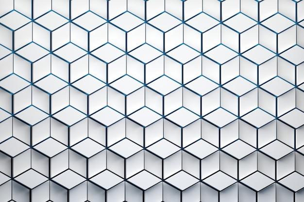 Vista frontale della superficie con motivo esagonale. forme esagonali bianche fatte di forme a rombo disposte a ripetizione.