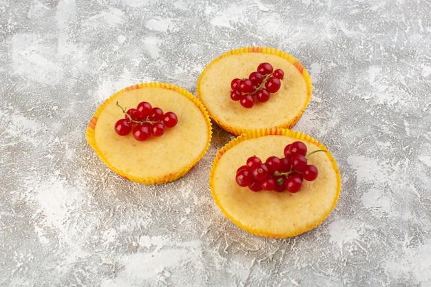 Vista frontale della torta con mirtilli rossi deliziosi e perfettamente cotti sulla superficie grigia