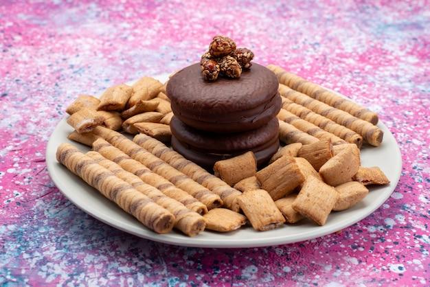 Vista frontale delle torte di cioccolato con i biscotti dentro il piatto sulla superficie porpora