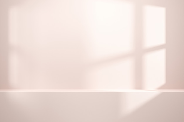 Vista frontale dello scaffale o del contatore vuoto sul fondo bianco della parete con luce naturale della finestra.