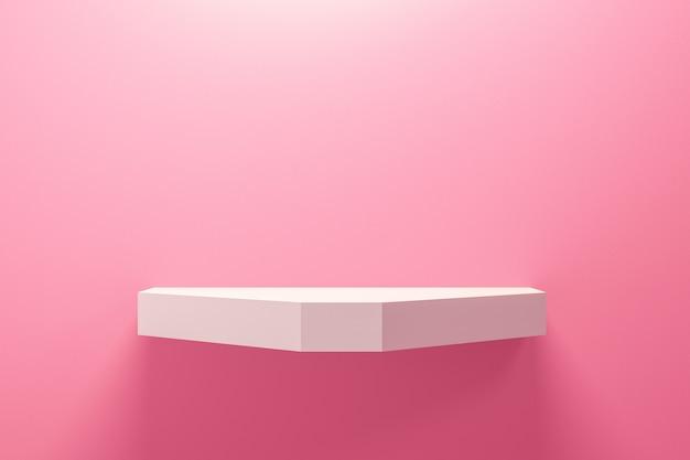 Vista frontale dello scaffale vuoto sul fondo rosa della parete con il concetto minimo moderno.