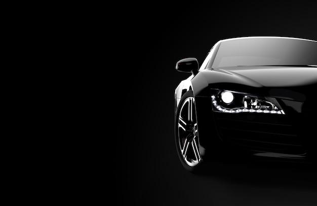Vista frontale di un'auto nera moderna generica e senza brand