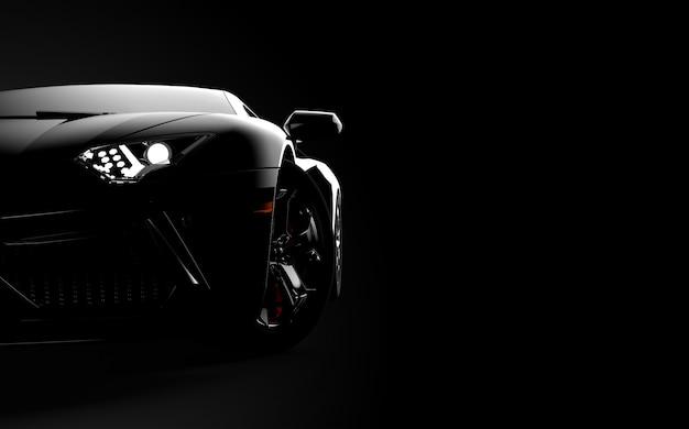 Vista frontale di un'auto sportiva moderna generica e senza brand su uno sfondo scuro