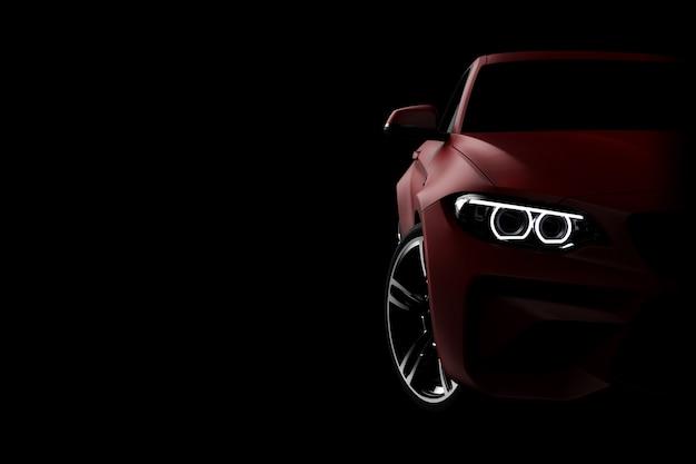 Vista frontale di un'automobile moderna rossa generica e senza marchio