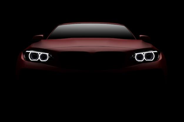 Vista frontale di un'automobile sportiva moderna rossa generica e senza marchio
