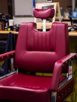 Vista frontale sedia da barbiere costoso
