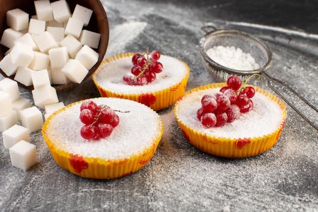 Vista frontale vicino deliziose torte di mirtilli rossi con mirtilli rossi in cima