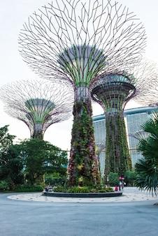 Vista futuristica di illuminazione straordinaria al garden by the bay