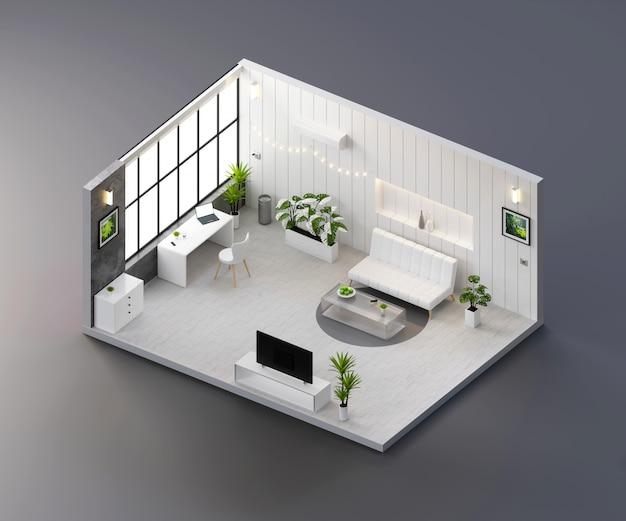 Vista isometrica bianco soggiorno aperto all'interno di architettura d'interni, rendering 3d.