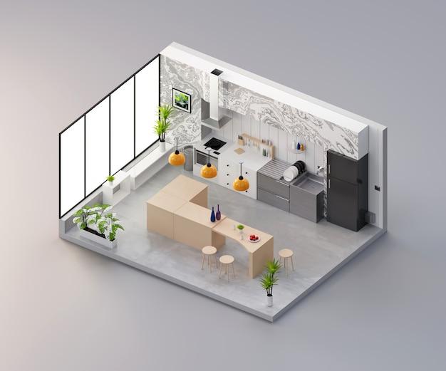 Vista isometrica camera cucina aperta all'interno di architettura d'interni, rendering 3d.