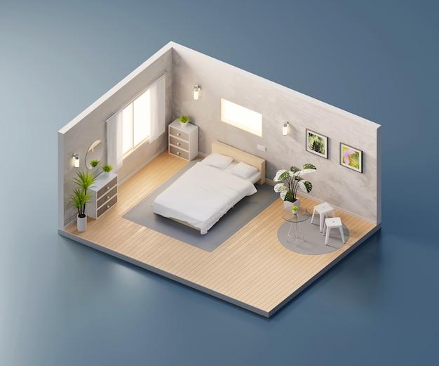 Vista isometrica camera da letto aperta all'interno di architettura d'interni, rendering 3d.