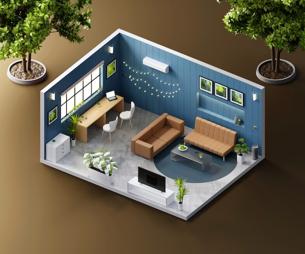 Vista isometrica soggiorno aperto all'interno di architettura d'interni, rendering 3d.