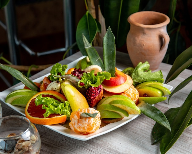 Vista laterale a fette di frutta su un piatto pompelmo mela melograno mandarino