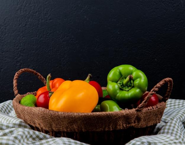Vista laterale dei pomodori e dei cetrioli variopinti dei peperoni dolci degli ortaggi freschi in un canestro di vimini sul tessuto del plaid sul nero