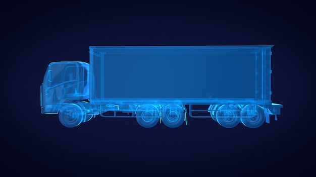 Vista laterale del camion x ray blu trasparente. rendering 3d