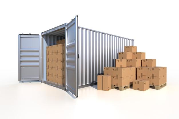 Vista laterale del contenitore di carico della nave con scatole di cartone