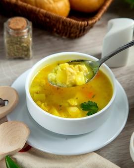Vista laterale del riso delle spezie della patata della minestra di pollo
