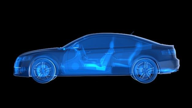 Vista laterale della macchina a raggi x blu. rendering 3d