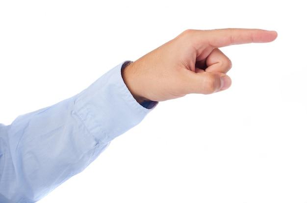 Vista laterale della mano che punta