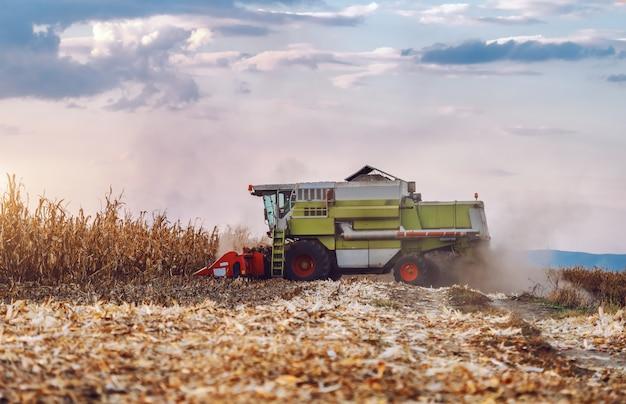 Vista laterale della mietitrice nel campo di grano che raccoglie in autunno.