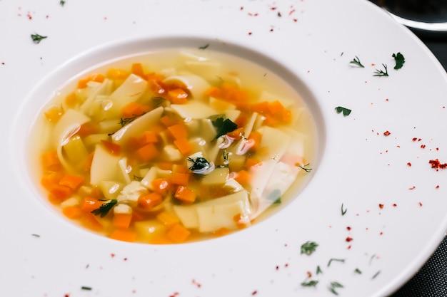 Vista laterale della minestra di pasta casalinga del pollo con le verdure in un piatto