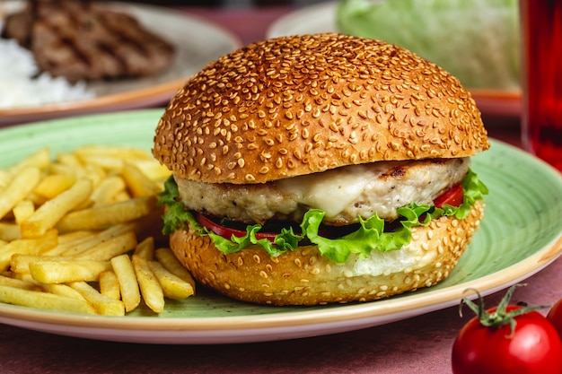 Vista laterale delle patate fritte del formaggio del pomodoro della lattuga dell'hamburger del pollo
