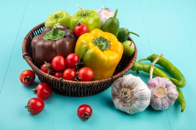 Vista laterale delle verdure come merce nel carrello dell'aglio del cetriolo del pomodoro del pepe e sull'azzurro