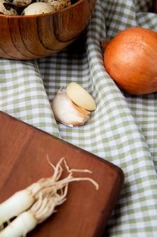 Vista laterale di spicchi d'aglio con cipolla sulla superficie del panno plaid