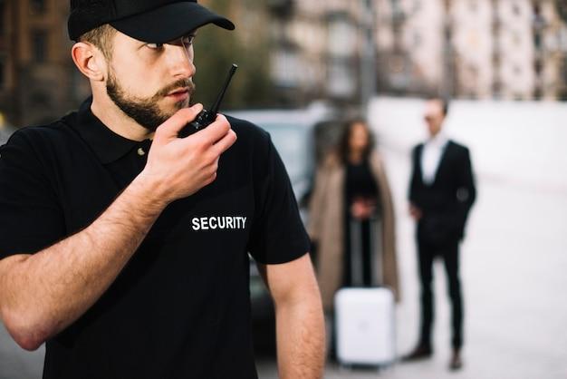 Vista laterale salvaguarda la protezione del cliente